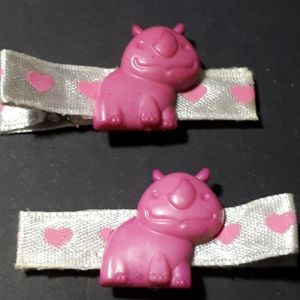 Other - Handmade Kiddie Clips - Pink Hippos